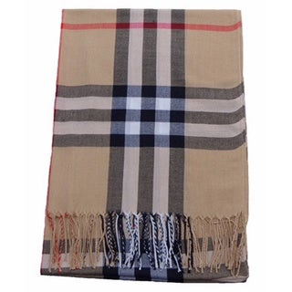 Beige Plaid Polyester Scarf