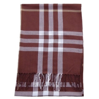 Fringed Brown Plaid Polyester Scarf