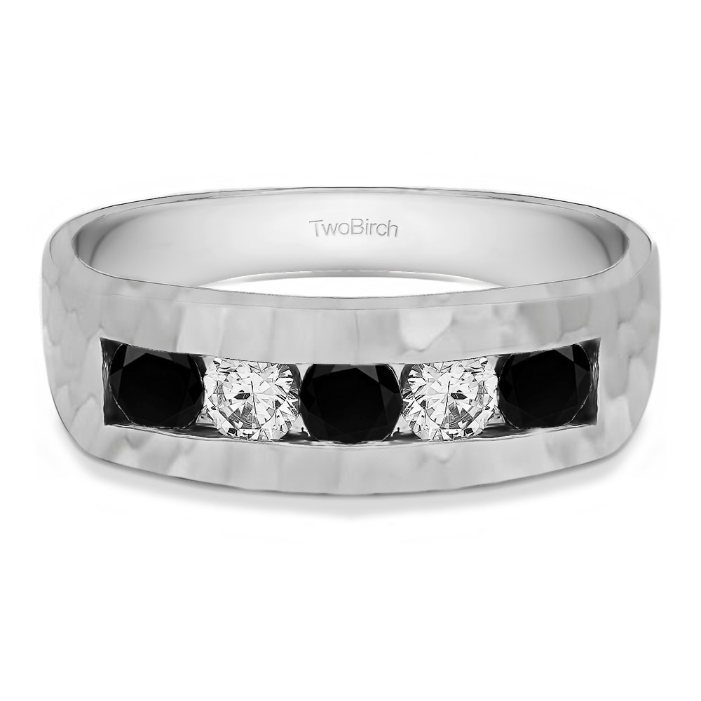 TwoBirch Sterling Silver Men's Hammered Wedding Ring With...