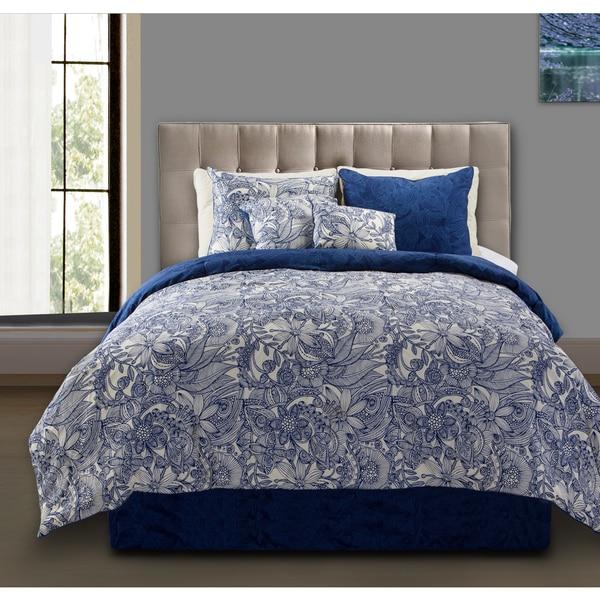 Valentina Flowers and Doodles 5-piece Comforter Set