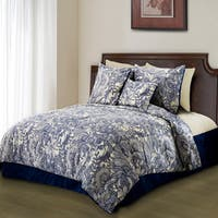 Valentina Flowers and Doodles Microfiber Duvet Cover Set