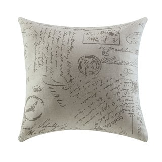 White Fabric Script Throw Pillow