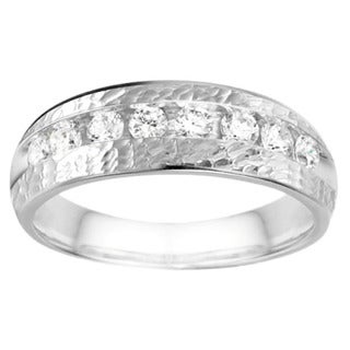 10k White Gold Channel set Men's Band with Hammered Finish With Diamonds (G-H,SI2-I1) (0.52 Cts., G-H, SI2-I1)