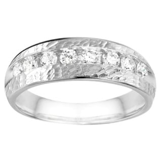 TwoBirch 10k White Gold Channel set Men's Band with Hammered Finish With White Sapphire (0.52 Cts., colorless
