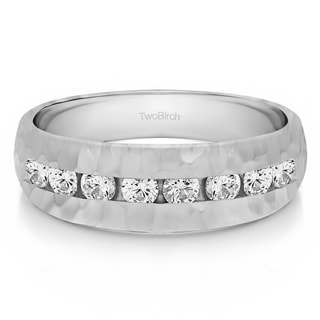 TwoBirch 14k White Gold Channel set Men's Band with Hammered Finish With Diamonds (0.52