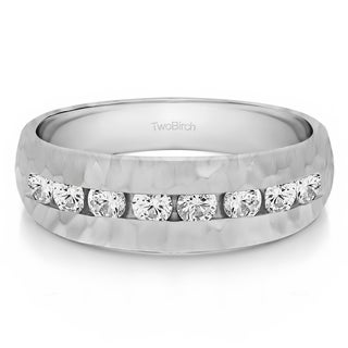 TwoBirch Sterling Silver Channel set Men's Band with Hammered Finish With Diamonds (0.52