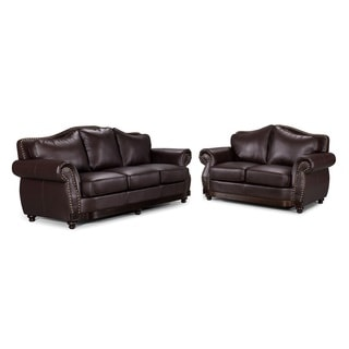 2-Piece Modern Brown Bonded Leather Scrolled Arm Sofa Set