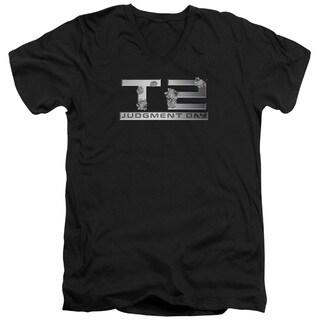 Terminator 2/Gunshot Logo Short Sleeve Adult T-Shirt V-Neck 30/1 in Black