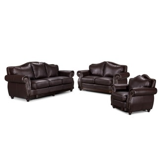 3-Piece Modern Brown Bonded Leather Scrolled Arm Sofa Set