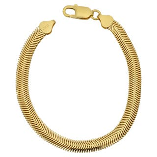 Argento Italia 14k Yellow Gold Over Sterling Silver 6.4-mm Oval Snake Bracelet (8.5 inches)|https://ak1.ostkcdn.com/images/products/12541805/P19344662.jpg?impolicy=medium