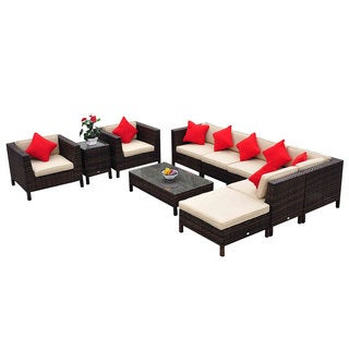 Outsunny 9-piece Outdoor PE Rattan Sofa Sectional and Chair Set