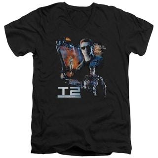 Terminator 2/Battle Short Sleeve Adult T-Shirt V-Neck 30/1 in Black