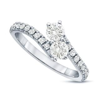 Auriya 14k Gold 1/2ct TDW Round-Cut Diamond 4-Prong, 2-Stone Engagement Ring (J-K, I1-I2)
