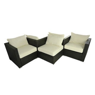 Outsunny Espresso PE Rattan Wicker 5-Piece Outdoor Patio Sofa Set