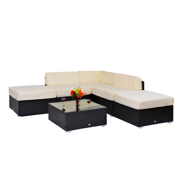 Outsunny rattan garden wicker 6 piece sofa sectional patio for Outdoor furniture 0 finance