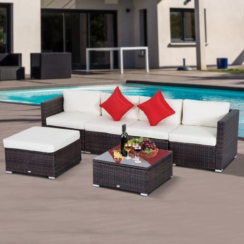 Outsunny 6 PC Outdoor Patio Rattan Wicker Sectional Sofa Furniture Set