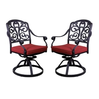 London Black Aluminum Swivel Rocker Chairs (Set of 2)