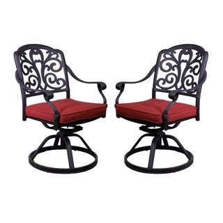 London Black Aluminum Swivel Rocker Chairs (Set of 2)