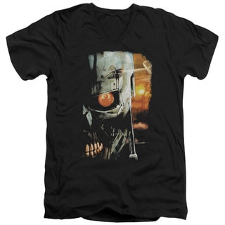 Terminator/Sketchy Short Sleeve Adult T-Shirt V-Neck 30/1 in Black