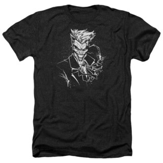 Batman/Joker's Splatter Smile Adult Heather T-Shirt in Black
