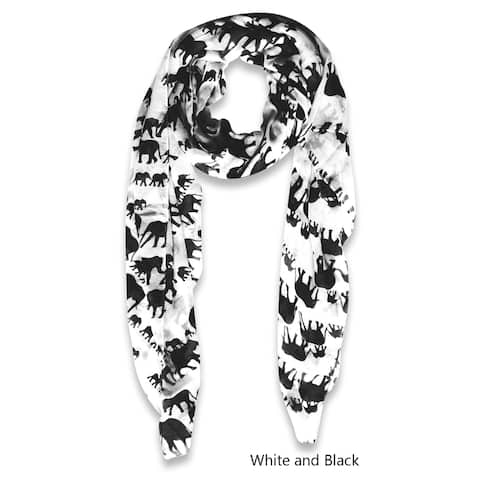 Peach Couture Women's Black and White Polyester Elephant Print Scarf
