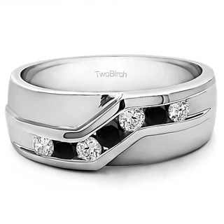 TwoBirch Sterling Silver Twisted Channel Set Mens Wedding Ring With Black And White Diamonds(0.48 Cts., black