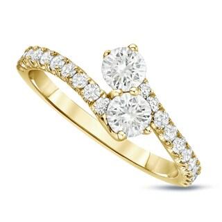 Auriya 14k Gold 1ct TDW Round-Cut Diamond 4-Prong, 2-Stone Engagement Ring (J-K, I1-I2)