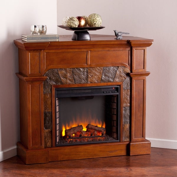Harper Blvd Hollandale Tobacco Oak Corner Convertible Faux Stone Electric Fireplace