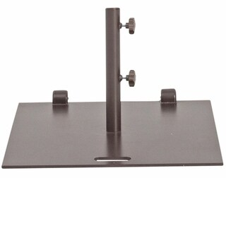 Abba Patio Brown Steel 24x24-inch Square Market Patio Umbrella Base Stand with Wheel and 2 Separate Poles
