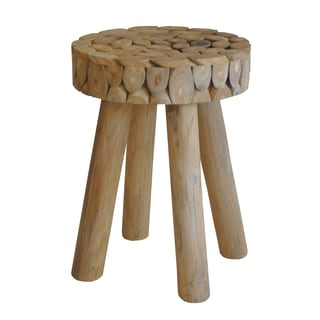 Aurelle Home Zippy Solid Natural Wood Stool