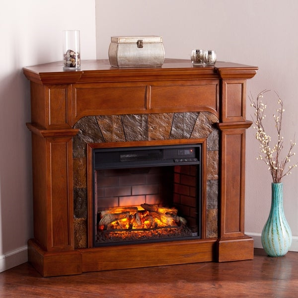 Harper Blvd Hollandale Tobacco Oak Corner Convertible Faux Stone Infrared Fireplace