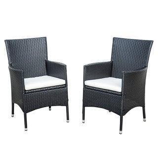 Outsunny 2-piece Dark Coffee Rattan Wicker Outdoor Dining Arm Chairs