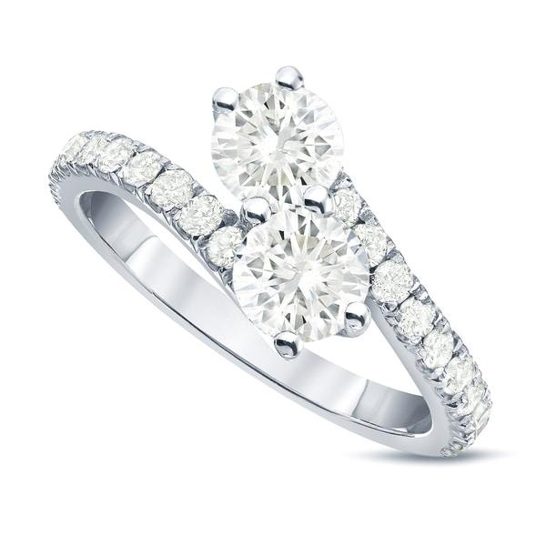 Auriya 14k Gold 1 1/2ct TDW Round 2-Stone Diamond Engagement Ring
