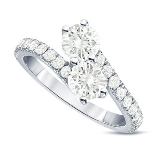 Auriya 14k Gold 1 1/2ct TDW Round-Cut Diamond 4-Prong, 2-Stone Engagement Ring (J-K, I1-I2)
