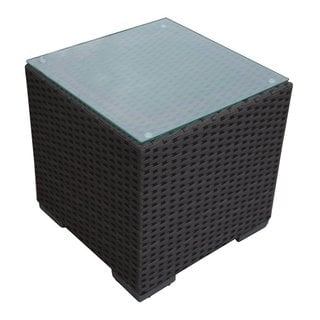 Abba Patio Brown Synthetic Wicker/Glass 16.3-inch x 16.3-inch x 16-inch Patio Square Side Table