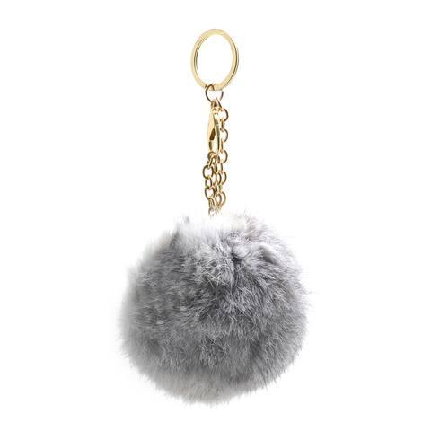 Dasein Fluffy Faux Fur Pom Pom Key Chain Handbag Purse Charm Accessory