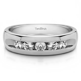 TwoBirch 14k White Gold Wide Channel Set Men's Ring with Open End Design With Diamonds (