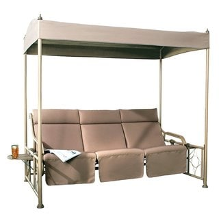 Abba Patio Tan Steel Frame 3-person Outdoor Patio Gazebo Swing With Teapoy
