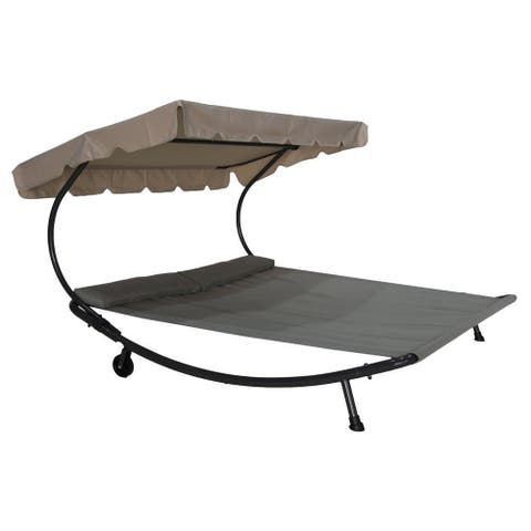 Havenside Home Bethany Wheeled Double Chaise Lounge Shaded Hammock Bed