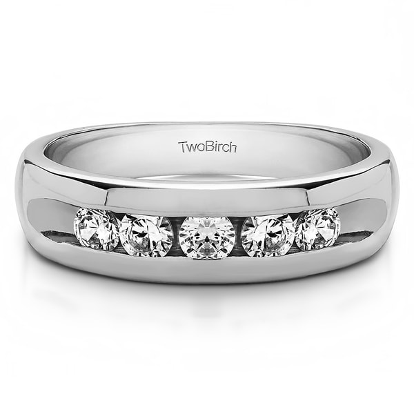 TwoBirch Sterling Silver Wide Channel Set Men's Ring with Open End Design With White Sapphire (0.25 Cts., col