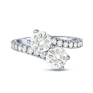Auriya 14k Gold 2ct TDW Round-Cut Diamond 4-Prong, 2-Stone Engagement RIng (J-K, I1-I2)
