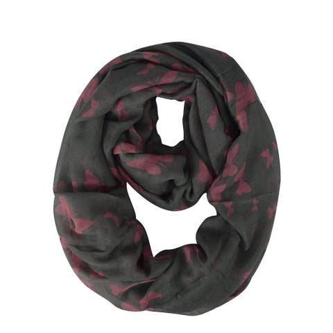 Peach Couture Women's Butterfly Sheer Infinity Scarves Loop