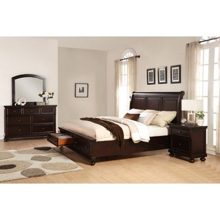 Brishland Rustic Cherry Storage Bedroom Set, King Bed, Dresser, Mirror and Nighstand