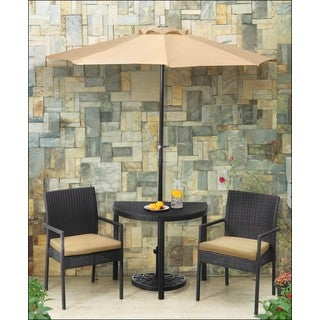Sunjoy Beige Half Round Steel and Rattan Outdoor Patio Dining Set