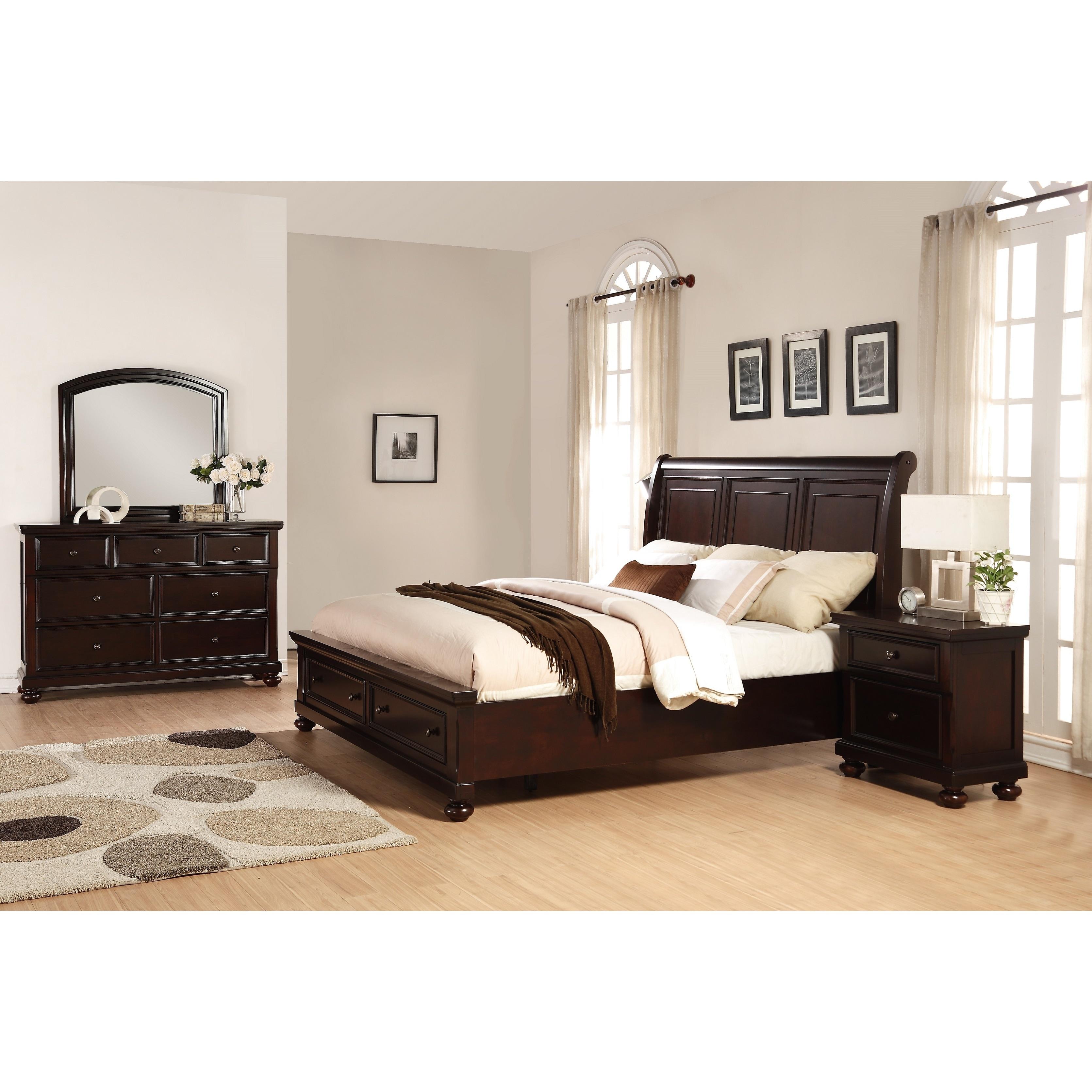 Brishland Rustic Cherry Storage 4-Piece Queen Size Bedroom Set