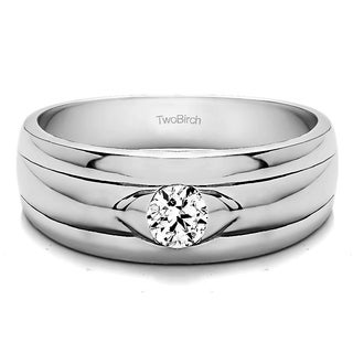 TwoBirch 14k White Gold Solitaire Cool Mens Ring Or Mens Wedding Ring With Diamonds (0.5