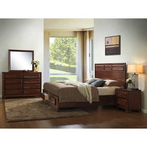 Oakland Antique Oak Wood 4-piece King-size Bedroom Set
