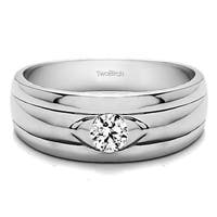 TwoBirch 14k White Gold Solitaire Cool Mens Ring Or Mens Wedding Ring With White Sapphire (0.51 Cts., colorle