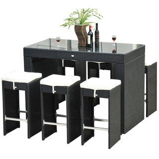 Outsunny 7-piece Black Rattan Wicker Dining Set