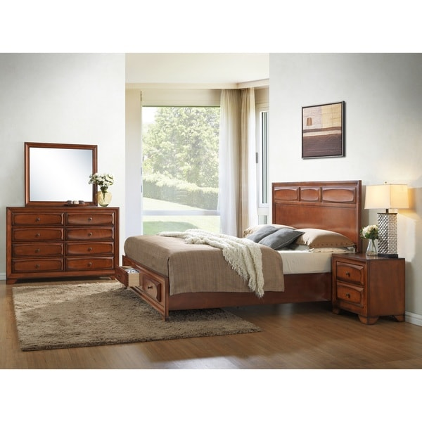 Oakland 139 antique oak queen size 4 piece bedroom set for Oak bedroom furniture 0 finance